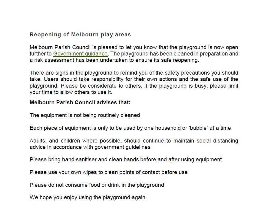 Reopening of Play area notice